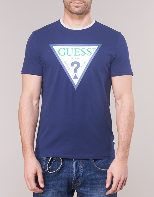 Manga Textil Camisetas Corta Guess Club Hombre Marino mwN80vOn
