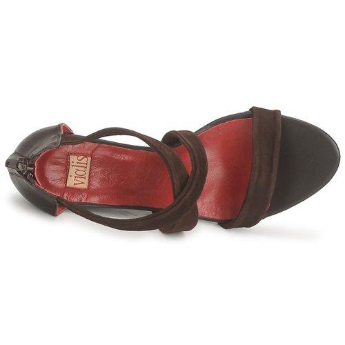 Mujer Zapatos Vialis Nivel Marrón Sandalias 15KculF3TJ
