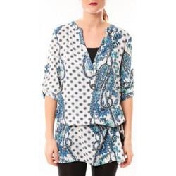 textil Mujer Vestidos cortos De Fil En Aiguille Tunique Love Look 1102 Bleu/Blanc Azul
