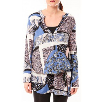 textil Mujer Vestidos cortos De Fil En Aiguille Tunique Love Look 1102 Bleu Azul