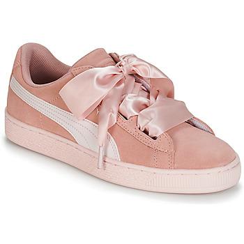 Zapatos Niña Zapatillas bajas Puma JR SUEDE HEART JEWEL.PEACH Rosa