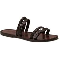 Zapatos Mujer Zuecos (Mules) Gianluca - L'artigiano Del Cuoio 575 D MORO CUOIO Testa di Moro