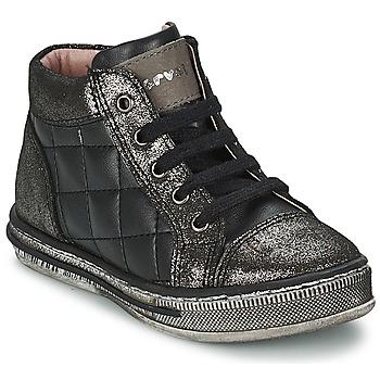 Zapatos Niña Zapatillas altas Garvalin SERRAJE LAMINADO Y TEXAS Negro