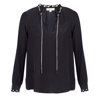 textil Mujer Tops / Blusas MICHAEL Michael Kors SCALLP GRMT CHAIN TOP Negro