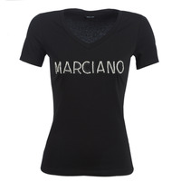 textil Mujer camisetas manga corta Marciano LOGO PATCH CRYSTAL Negro