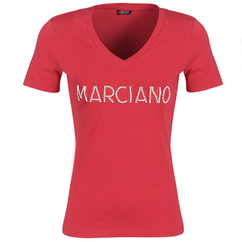 textil Mujer camisetas manga corta Marciano LOGO PATCH CRYSTAL Rojo