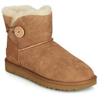 Zapatos Mujer Botas de caña baja UGG MINI BAILEY BUTTON II Camel