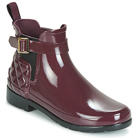 Zapatos Mujer Botas de agua Hunter REFINED GLOSS QUILT CHELSEA Burdeo