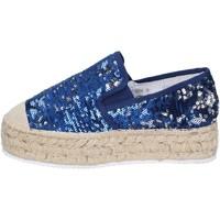 Zapatos Mujer Mocasín Francescomilano mocasines azul textil lentejuelas BS75 azul