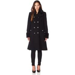 textil Mujer Abrigos De La Creme Cuello de piel de abrigo de invierno de lana de cachemira Black