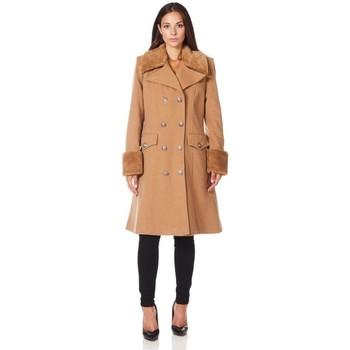 textil Mujer Abrigos De La Creme Cuello de piel de abrigo de invierno de lana de cachemira BEIGE