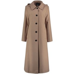 textil Mujer Abrigos De La Creme Abrigo de invierno largo desmontable para mujer con capucha. BEIGE