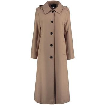 textil Mujer trench De La Creme Abrigo de invierno largo desmontable para mujer con capucha. BEIGE