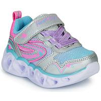 Zapatos Niña Zapatillas bajas Skechers HEART LIGHTS Plata / Rosa / Led