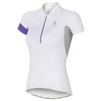 textil Mujer camisetas manga corta Odlo Stand-Up Collar Short Sleeve 12 Zip Isola blanco