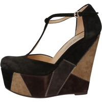Zapatos Mujer Sandalias Gianni Marra cuñas negro gamuza gris AK894 negro