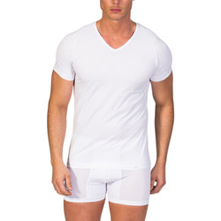 textil Hombre Camisetas manga corta Zd - Zero Defects Camiseta de manga corta y cuello pico algodón Egipcio Blanco