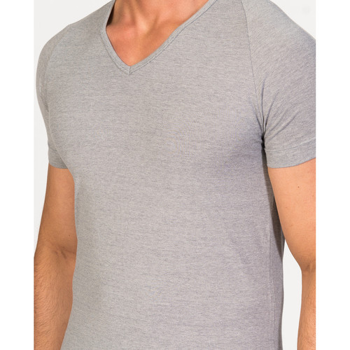 Zd - Zero Defects Camiseta De Manga Corta Y Cuello Pico Algodón Egipcio Gris Textil Camisetas Hombre 32