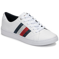 Zapatos Mujer Zapatillas bajas Tommy Hilfiger CRYSTAL LEATHER CASUAL SNEAKER Blanco