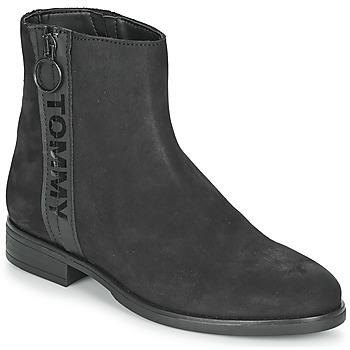 Zapatos Mujer Botas de caña baja Tommy Jeans TOMMY JEANS ZIP FLAT BOOT Negro