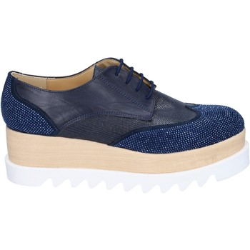 Zapatos Mujer Derbie & Richelieu Olga Rubini elegantes azul cuero sintético gamuza strass BS96 azul