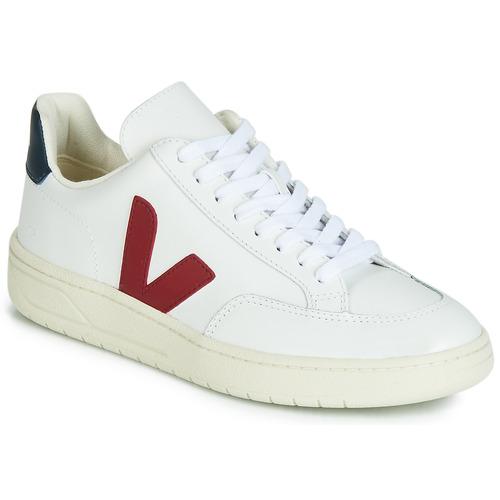 Zapatos Zapatillas bajas Veja V-12 LEATHER Blanco / Azul / Rojo