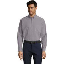 textil Hombre camisas manga larga Sols BOSTON STYLE OXFORD Plata