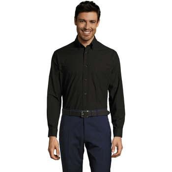 textil Hombre camisas manga larga Sols BOSTON Negro