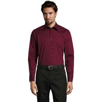 textil Hombre camisas manga larga Sols BRIGHTON STRECH Violeta