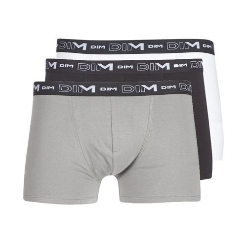 DIM COTON STRETCH X3 Negro / Gris / Blanco - Envío gratis | ! - Ropa interior Boxer Hombre