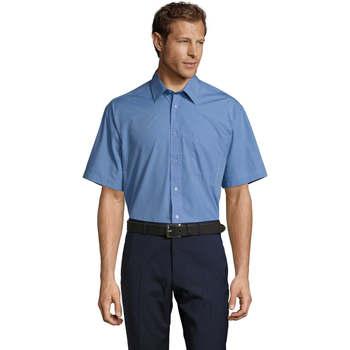 textil Hombre camisas manga corta Sols BRISTOL MODERN WORK Azul