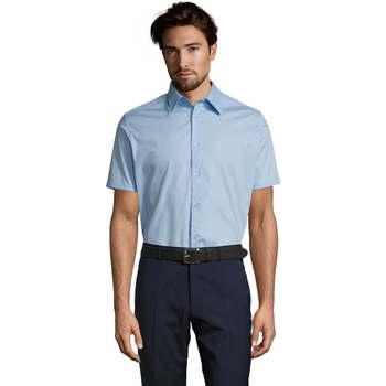 textil Hombre camisas manga corta Sols BROADWAY STRECH MODERN Azul