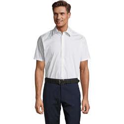 textil Hombre camisas manga corta Sols BROADWAY STRECH MODERN Blanco