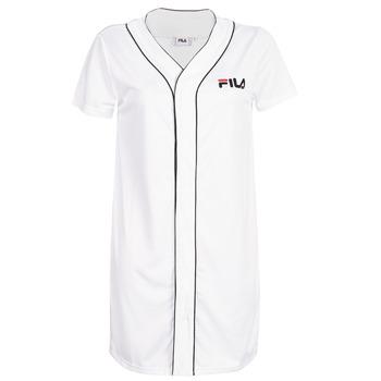 textil Mujer vestidos cortos Fila WOMEN ROBIN button baseball dr Blanco