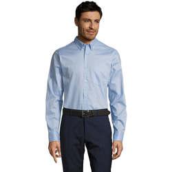 textil Hombre camisas manga larga Sols BUSSINES MEN Azul