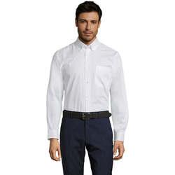 textil Hombre Camisas manga larga Sols BEL-AIR TWILL MEN Blanco