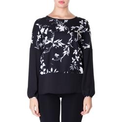 textil Mujer camisas Luckylu BLUSA CREPE STAMPATO 0714-bianco-nero