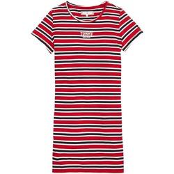 textil Niña Vestidos cortos Tommy Hilfiger MULTI STRIPE KNIT DRESS S/S Rojo