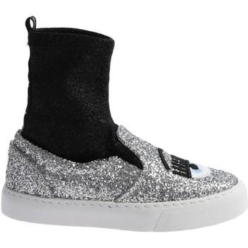 Zapatos Mujer Zapatillas altas Chiara Ferragni CF 2094 SILVER-BLACK argento