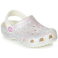 Zapatos Niños Zuecos (Clogs) Crocs CLASSIC GLITTER CLOG K Blanco