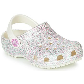Zapatos Niña Zuecos (Clogs) Crocs CLASSIC GLITTER CLOG K Blanco