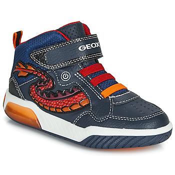 Zapatos Niño Zapatillas altas Geox J INEK BOY Azul / Rojo / Led