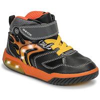 Zapatos Niño Zapatillas altas Geox J INEK BOY Negro / Naranja