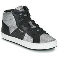 Zapatos Niña Zapatillas altas Geox J KALISPERA GIRL Negro / Plateado
