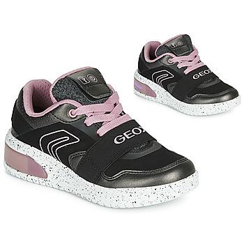 Zapatos Niña Zapatillas altas Geox J XLED GIRL Negro / Rosa / Led