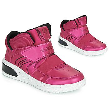 Zapatos Niña Zapatillas altas Geox J XLED GIRL Rosa / Fucsia / Negro / Led