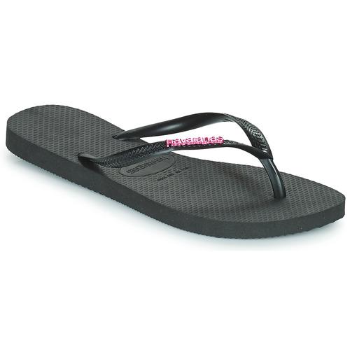 Havaianas SLIM LOGO METALLIC Negro - Envío gratis | ! - Zapatos Chanclas Mujer