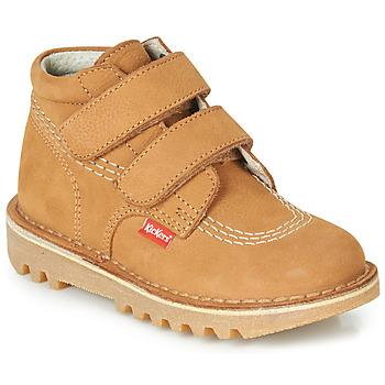 Zapatos Niño Botas de caña baja Kickers NEOVELCRO Camel