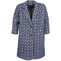 textil Mujer Abrigos See U Soon RIFFLE Azul / Blanco