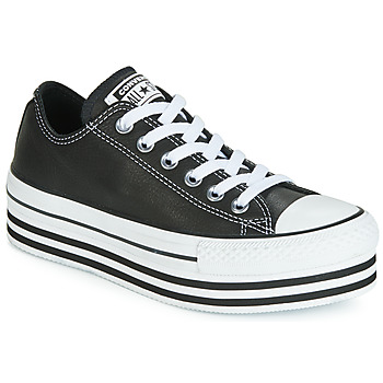 Zapatos Mujer Zapatillas bajas Converse CHUCK TAYLOR ALL STAR LAYER BOTTOM LEATHER OX Negro / Blanco / Negro